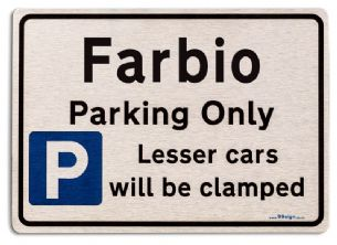 Gift for Farbio car owner | New Parking only Sign | Metal face Brushed Aluminium